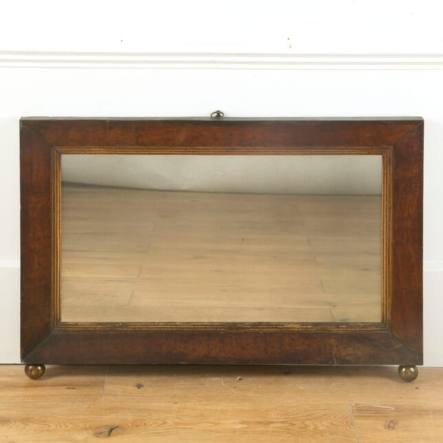 19th Century Overmantel Mirror with Brass Ball Feet MI999932
