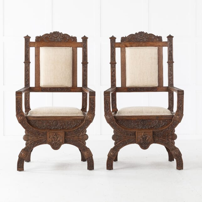 19th Century Pair of Carved Anglo Indian Armchairs CH0610946