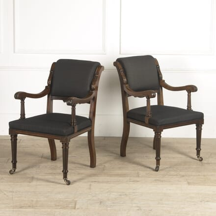 19th Century Pair of Mahogany Open Armchairs CH0310216