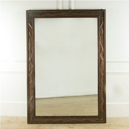 Large Oak and Copper Arts and Crafts Mirror MI419730