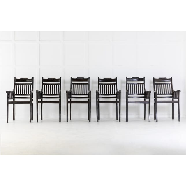 Set of Six 1940s Solid Ebony Chairs with Cane Seats CH0614264