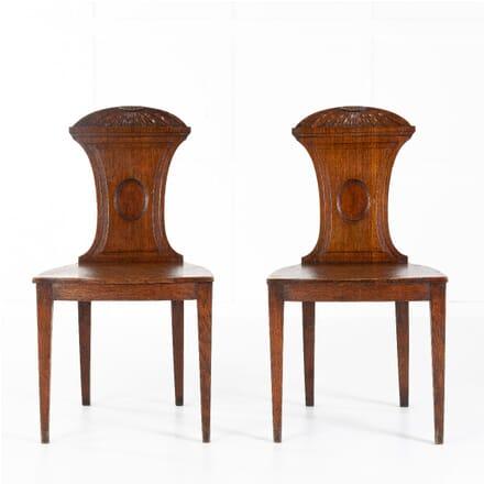 Pair of Regency Oak Hall Chairs CH0612002