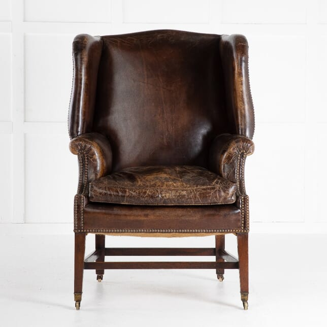 Late 19th Century Mahogany Leather Wing Chair CH0612717