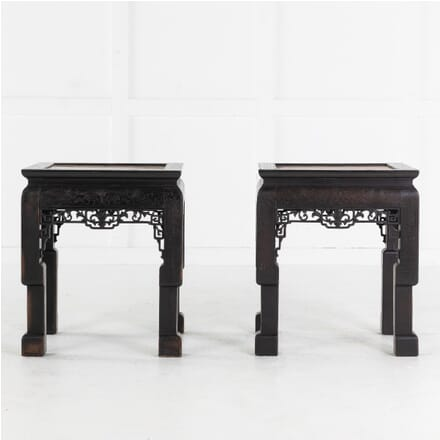 Pair of Ebonised Chinese Side Tables with Marble Tops CO0613720