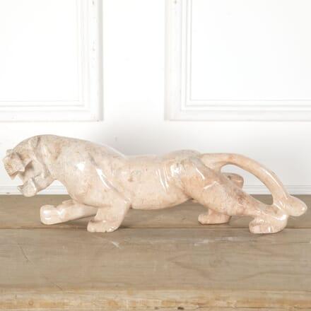 20th Century Art Deco Big Cat Model in Pink Marble DA9012774