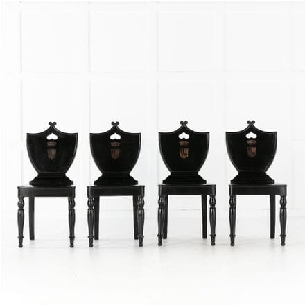 Set of Four 19th Century Ebonised Hall Chairs CH0613488