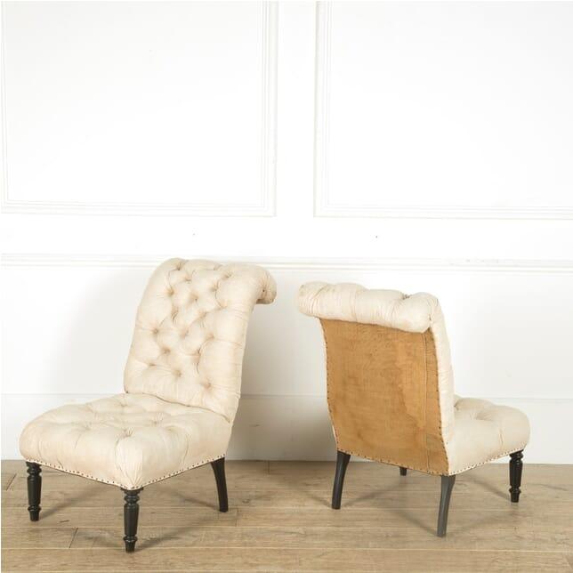 Pair of 19th Century Napoleon III Slipper Chairs CH2060578