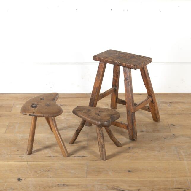 Set of Three Primitive Wooden Stools ST7913995