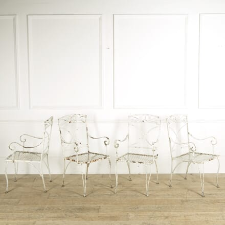 4 White Garden Chairs GA139996