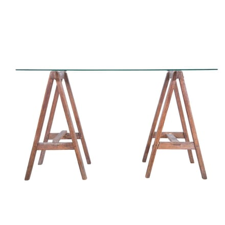 Glass Top Trestle Console Table TS7159816