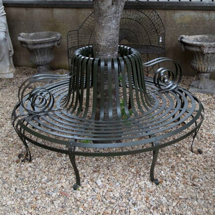 English Strapwork Iron Tree Seat Garden Bench GA4261458