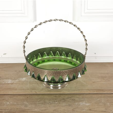 Arts & Crafts Glass and Hammered Metal Basket Bowl DA5812892