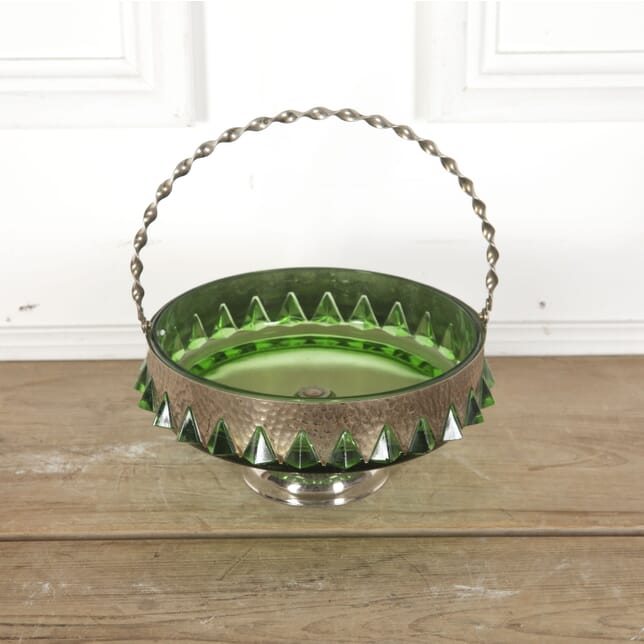 Arts & Crafts Green Glass and Hammered Metal Basket Bowl DA5812892