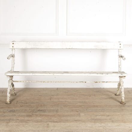 Early 20th Century Faux Bois Cast Iron Garden Bench SB0913407