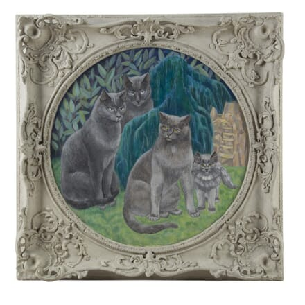 """""""Enigmatic Cat Family"""" Oil in Board by Agnes Clarke WD0560076"""