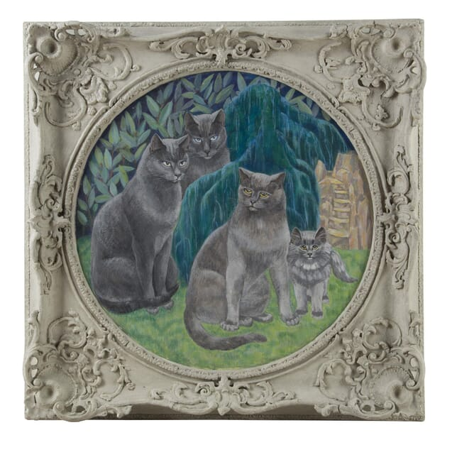 """Enigmatic Cat Family"" Oil in Board by Agnes Clarke WD0560076"