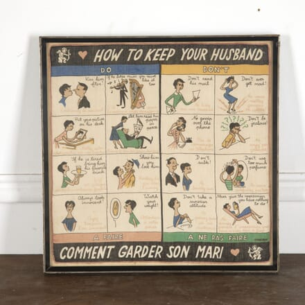 Framed 'How to Keep your Husband' Hanky WD1513023