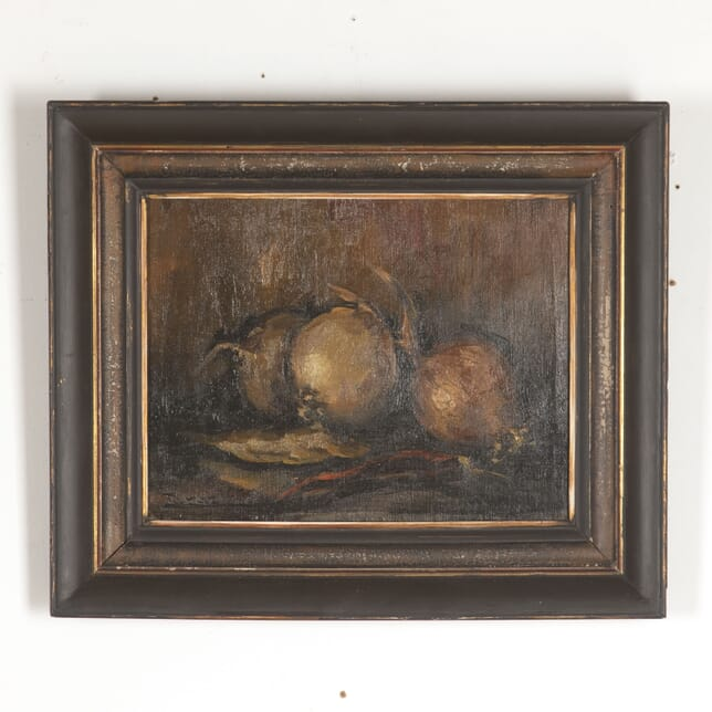 Framed Oil on Canvas Still Life of Onions WD4413358