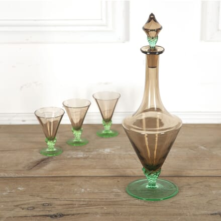 French Art Deco Smoked and Green Glass Decanter DA5812889