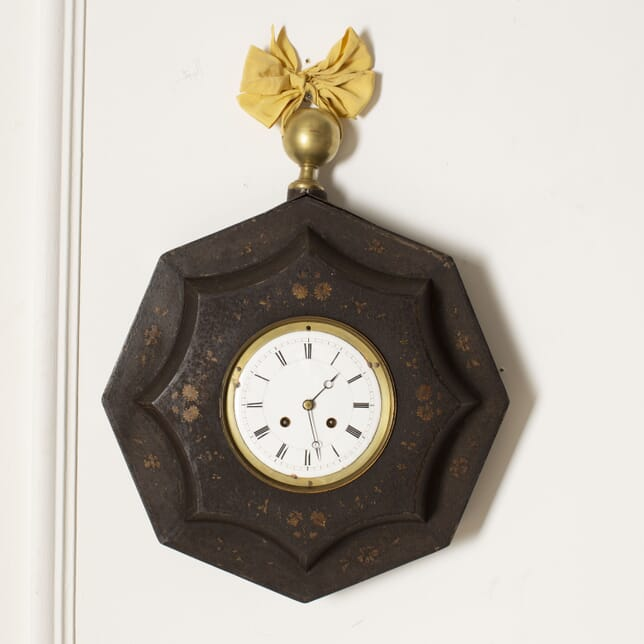 French Charles X Painted Toleware Wall Clock DA5112160