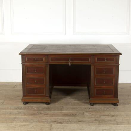 French Mahogany Brass Bound Pedestal Desk DB4512401