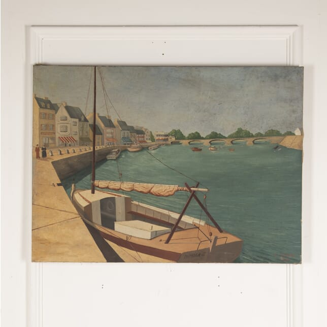 French Painting of a Harbour WD4812724