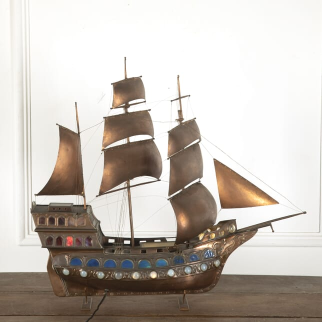 Guild of Handicraft Copper and Glass Galleon Table Light LT7812316