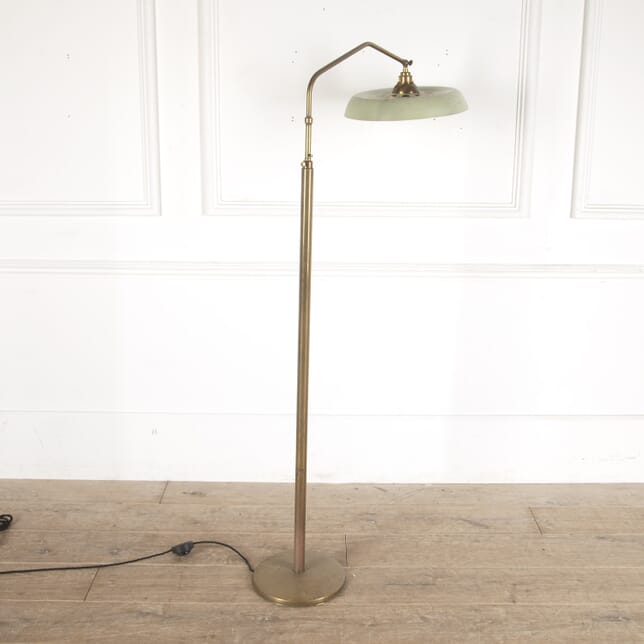 Italian Brass Floor Lamp with Green Tole Shade LF4812734