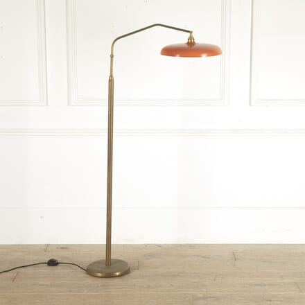 Italian Brass Floor Lamp with Orange Tole Shade LF4812733