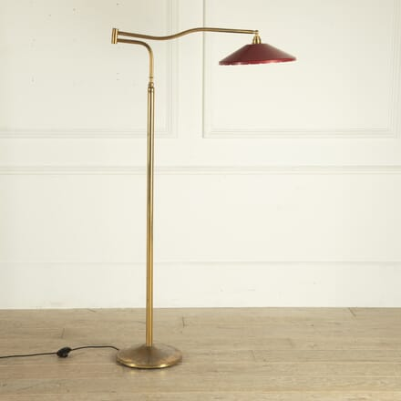 Italian Brass Floor Lamp with Red Tole Shade LF4812732