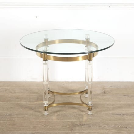 Italian Lucite Brass and Glass Table CO7813058