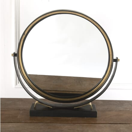 Large Circular Brass and Painted Steel Vanity Mirror MI7812326