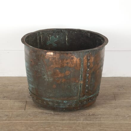 Large English Copper Log Bin Planter GA4512396
