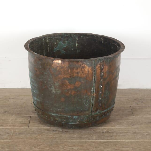 Large English Copper Log Bin Planter GA4512396