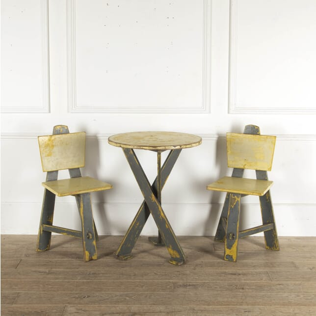 Modernist Painted Table and Two Chairs TD7812305