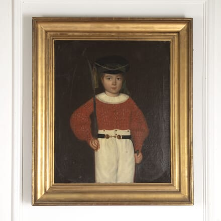Oil Painting of Child in Military Uniform WD6012840