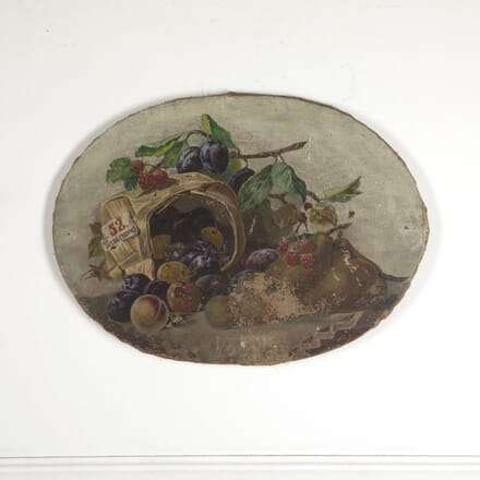 Oval Still Life Painting of Fruit and Fauna WD7712825