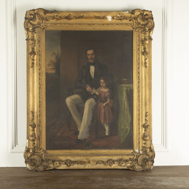 Painting of Father and Daughter in Decorative Frame WD7712824