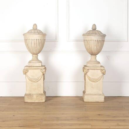 Pair 18th Century Coade Stone Urns on Pedestals GA0313396