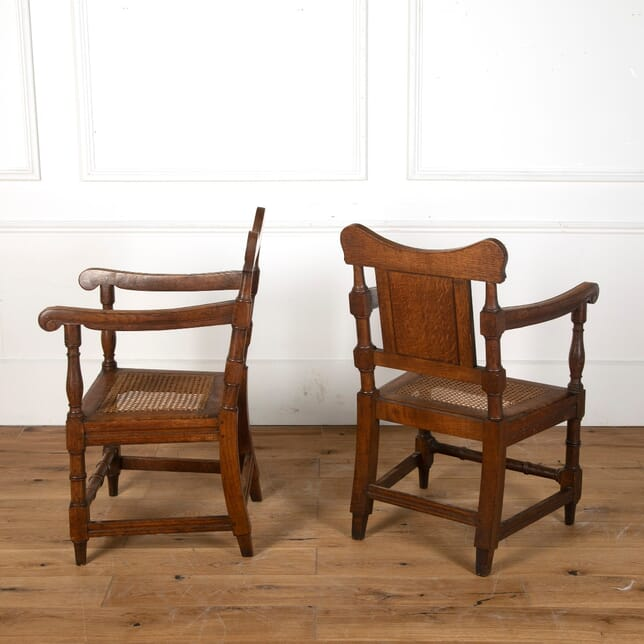Pair of 19th Century Oak Armchairs with Caned Seats CH1011624