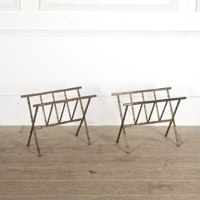 Pair of Brass Faux Bamboo Magazine Holders DA3012787