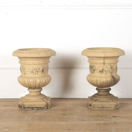Pair of Buff Terracotta Urns GA0312616