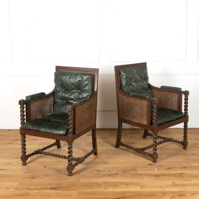 Pair of Early 20th Century Leather Library Armchairs CH1011619