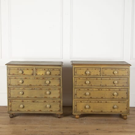 Pair of English Faux Bamboo Painted Chests CC2712593