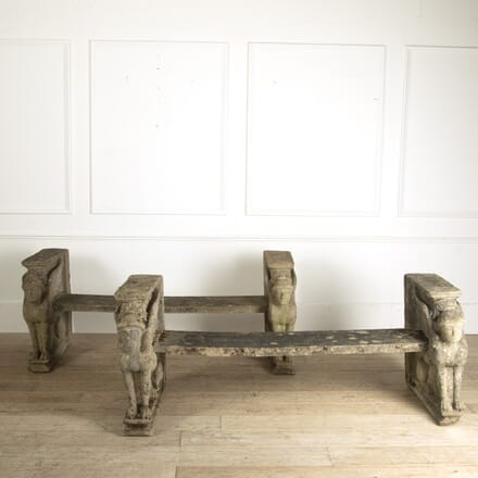 Pair of English Reconstituted Stone Garden Benches SB4112176