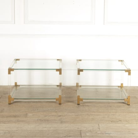 Pair of French 1970s Lucite and Glass Side Tables CO4812736