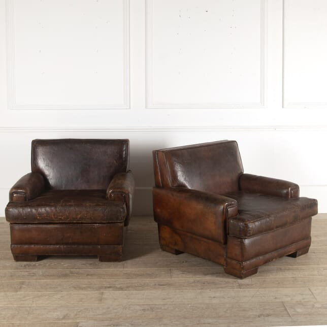 Pair of French Leather Armchairs CH3512430
