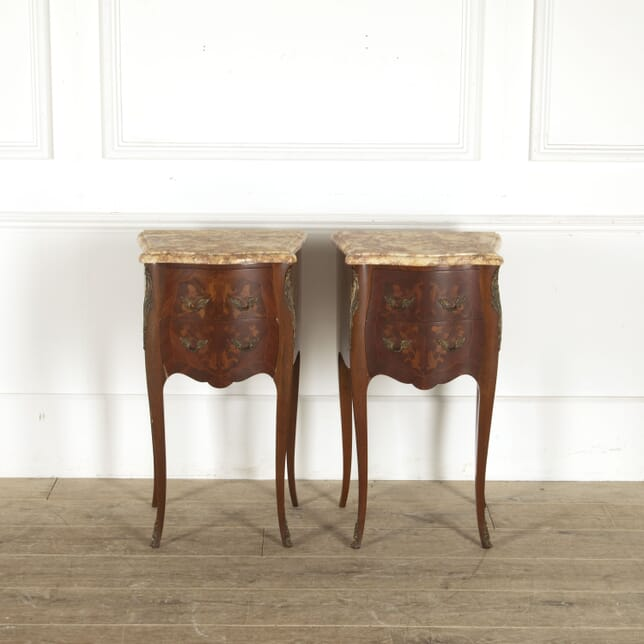 Pair of French Serpentine Side Tables with Marble Tops CO8812385
