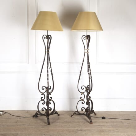 Pair of French Wrought Iron Floor Lamps LF4812377