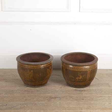 Pair of Glazed Pottery Chinese Planters GA1512985